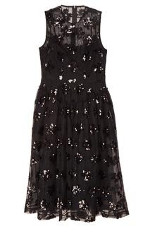 Черное платье с вышивкой пайетками Simone Rocha