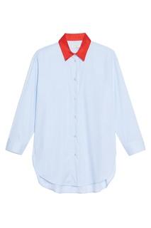 Голубая рубашка с красным воротником Sandro