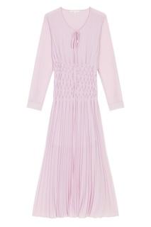 Плиссированное розовое платье Maje