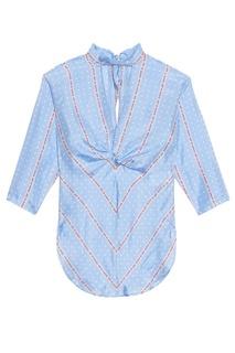 Шелковая блузка с надписями Sandro