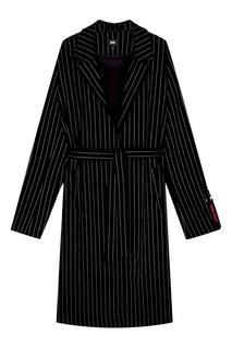 Черное вельветовое пальто в полоску Neige