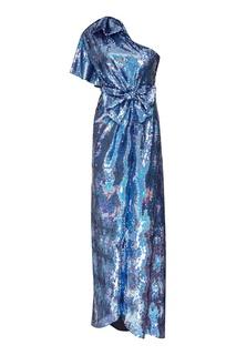 Синее шелковое платье с пайетками Gucci