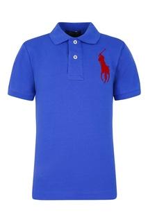 Синяя футболка-поло с красной вышивкой Ralph Lauren Children