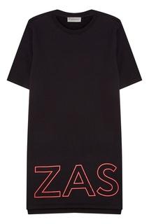 Черное хлопковое платье с логотипом Zasport