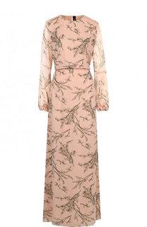 Шелковое приталенное платье-макси с принтом Poustovit