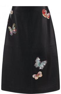 Кожаная юбка-миди с декоративной отделкой Valentino