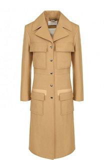 Приталенное хлопковое пальто с накладными карманами Chloé