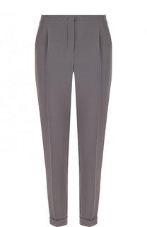 Шелковые брюки прямого кроя с защипами и эластичным поясом Loro Piana