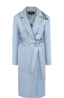 Однотонное пальто с поясом и декоративной отделкой Rochas