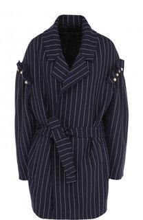 Шерстяное пальто с поясом и жемчужной отделкой Mother Of Pearl