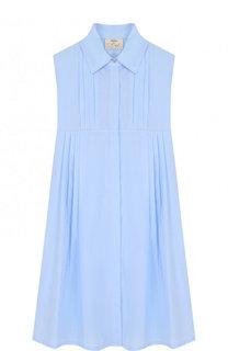 Хлопковое платье-рубашка с защипами Caf