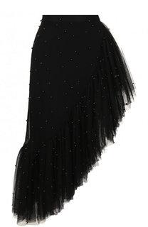 Однотонная юбка асимметричного кроя с оборками Rodarte