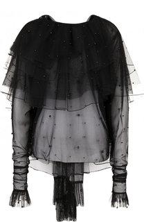 Полупрозрачная блуза с оборками и декорированной отделкой Rodarte