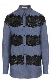 Джинсовая блуза с кружевными вставками See by Chloé