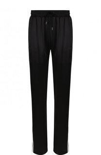 Шелковые брюки с эластичным поясом и лампасами Burberry