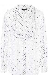 Шелковая блуза с оборками и принтом St. John