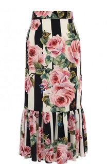 Шелковая юбка-миди с принтом Dolce & Gabbana