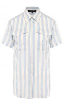 Шелковая блуза с накладными карманами в полоску Rochas