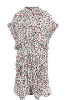 Мини-платье из  вискозы с оборками и принтом Chloé