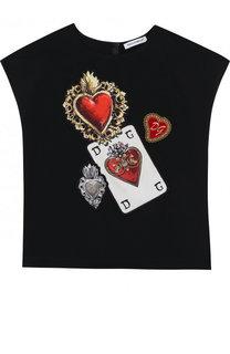 Шелковый топ с аппликациями Dolce & Gabbana