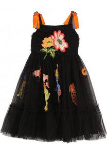 Многослойное платье с аппликациями и контрастными вставками Dolce & Gabbana