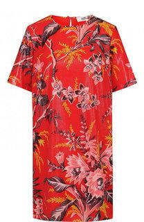 Шелковое мини-платье прямого кроя с принтом Diane Von Furstenberg