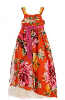 Шелковое платье с асимметричным подолом и поясом Dolce & Gabbana