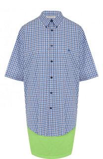 Хлопковая блуза асимметричного кроя в клетку Balenciaga