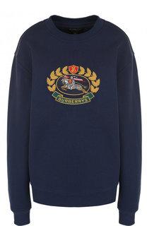 Хлопковый свитшот с круглым вырезом и логотипом бренда Burberry