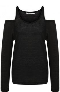 Шерстяной пуловер с открытыми плечами T by Alexander Wang