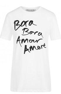 Хлопковая футболка с круглый вырезом и принтом Etre Cecile