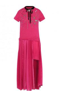 Хлопковое платье асимметричного кроя с  декорированной отделкой Sacai
