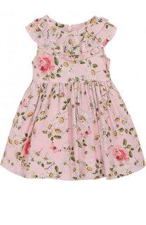 Платье из вискозы с принтом и оборками Monnalisa