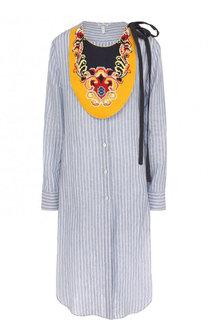 Льняное платье-рубашка с контрастным воротником Loewe