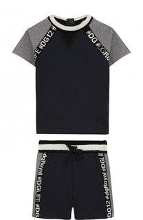 Хлопковый комплект из футболки и шорт Dolce & Gabbana