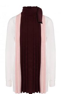 Шелковая блуза с  воротником аскот Valentino