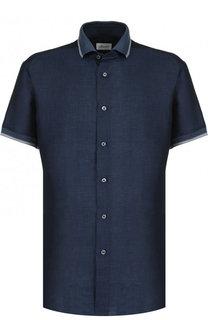 Рубашка с короткими рукавами из смеси льна и хлопка Brioni