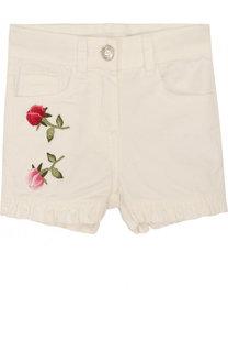 Джинсовые шорты с аппликациями Monnalisa