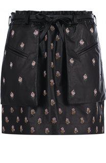 Кожаная мини-юбка с карманами и принтом Valentino