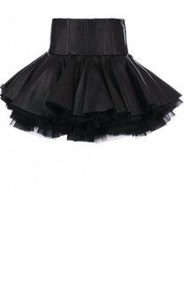 Кожаная мини-юбка с оборками Balmain