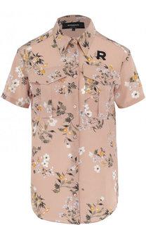 Шелковая блуза с накладными карманами и принтом Rochas