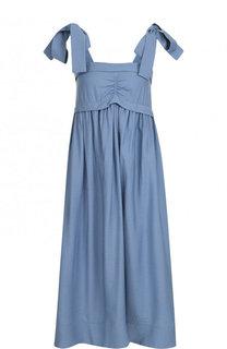 Однотонное платье-миди с бантами See by Chloé