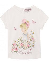 Хлопковая футболка с принтом и стразами Monnalisa