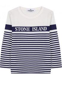 Хлопковый лонгслив в полоску Stone Island