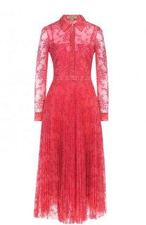 Приталенное платье-миди с плиссированной юбкой и кружевной отделкой Burberry