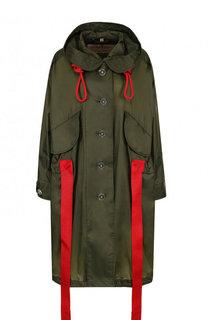 Однотонное пальто свободного кроя с поясом и контрастной отделкой Burberry