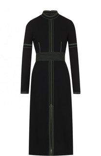 Приталенное платье-миди с контрастной отделкой и воротником-стойкой Burberry