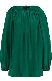Однотонная шелковая блуза свободного кроя Escada