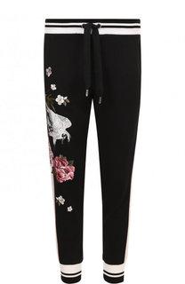 Хлопковые джоггеры с вышивкой Dolce & Gabbana
