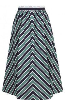 Пышная хлопковая юбка-миди в полоску Fendi